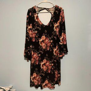 Cato Black Floral Bell Sleeve Dress w/ Cutout Back